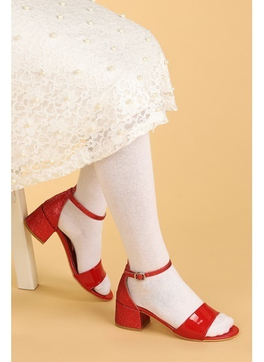 Kiko Kids Kiko 768 Ayna Kum Günlük Kız Çocuk 3 Cm Topuk Sandalet Ayakkabı Kırmızı
